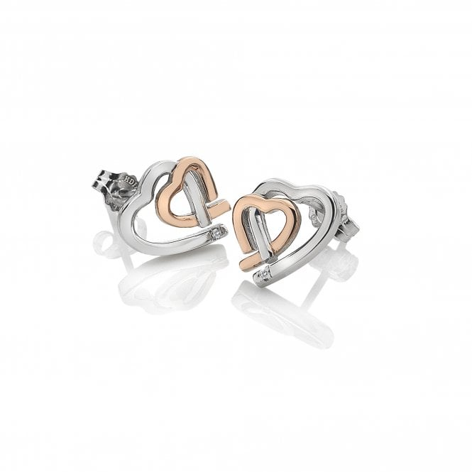 Amore Heart Stud Earrings Rose & Silver from the Hot Diamonds collection